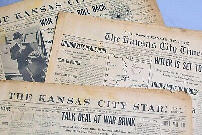 Kansas City Newspapers Star & Times Front Pages From Aug 8 1939-Apr 1941 199 Pcs