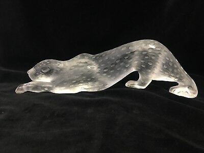 """Signed Lalique Crystal Large Frosted Zeila Panther 14 1/2"""""""