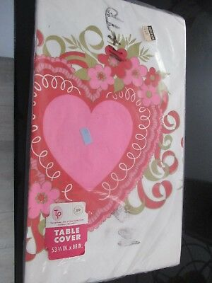 """Vintage Tuttle Table Cover~Valentine's Day~Hearts & Flowers~53 3/4"""" X 88""""~Nrfp"""