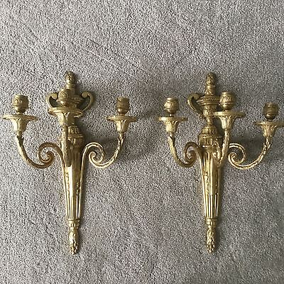 ~ PAIR Vintage Antique Brass Bronze French Empire Three Arm Lamp Wall Sconces ~