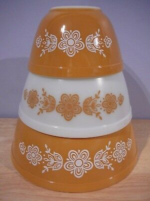 3 Vtg PYREX Butterfly Gold Mixing Bowls 401 402 403