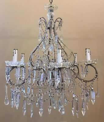 Antique Vintage Italian Crystal Macaroni Beaded Chandelier Spear Prisms French