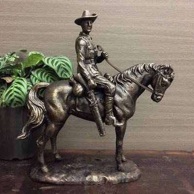 BRONZE Vintage Style Soldier On Horse Sculpture