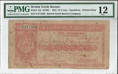 RARE 1921 BRITISH NORTH BORNEO 25 CENTS PICK#12b PMG F12