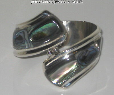 "Exquisite Estate Sterling Silver Abalone 7"" Cuff Bangle Bracelet Mexico Heavy"