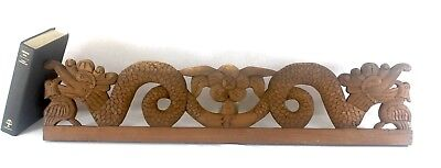Hand Carved Stylized Dragon Wood Pediment 31 inch