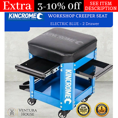 Kincrome 2 Drawer Workshop Creeper Stool For Garage Mechanic Tools With Rolling