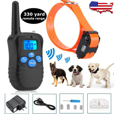 US Waterproof Pet Dog Training Collar Rechargeable Electric Shock LCD Display BT