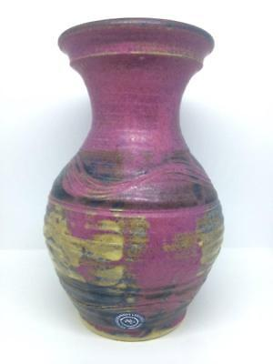 Michael Kennedy Ceramics Ireland Stamped & Labelled Vase Sea Water 19cms tall