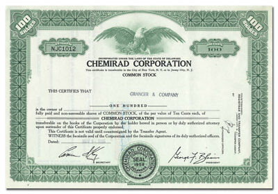Chemirad Corporation Stock Certificate (New Jersey)