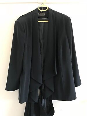 Ann Harvey navy ladies skirt suit fully lined waterfall jacket size 26 skirt 28