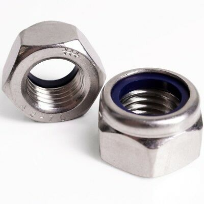 A2 STAINLESS STEEL NYLOC NUTS Nylon Nylock M2.5-M24 Bolt Locking Rubber Insert