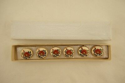 Antique Japanese Meiji Satsuma set of 6 painted Peony floral 18mm buttons in box
