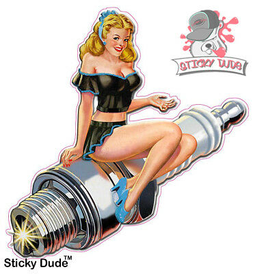 63a55db7bdf2c2 2 USA Spark plug PinUp Sexy Aufkleber Sticker Rockabilly Biker Oldschool  Hot Rod
