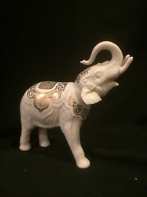 Lenox China Jewels Collection Large Palace ELEPHANT Trunk Up Gold Trim