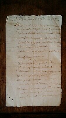 1633 Charles I Stuart Period 17th Century Early French Manuscript (UK Seller)