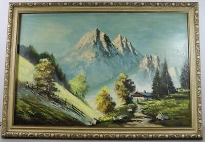 FABULOUS 60's  MOUNTAIN HOUSE OIL PAINTING SIGNED GINO