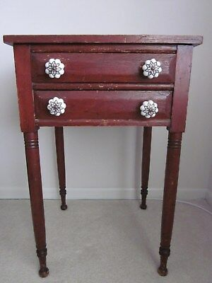 Antique PrimitiveWood 2DrawerSmall Side End Table Nightstand Candle Stand