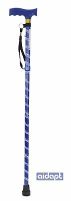 Extendable Plastic Handled Walking Stick Wth Engraved Pattern Blue