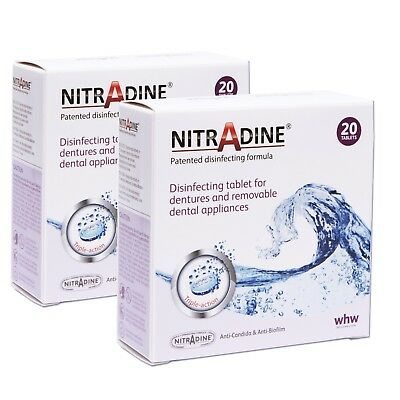 Nitradine x 2 Boxes ~ Cleaning Tablets for Denture, Ortho Retainer, Mouth Guard
