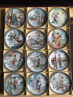 Complete Set of 12 Imperial Jingdezhen Plates BEAUTIES OF THE RED MANSION COA