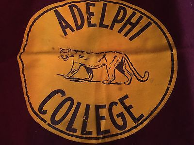 Vintage ADELPHI COLLEGE NY Wool Camp Blanket 1940s 1950s PANTHER MASCOT USA