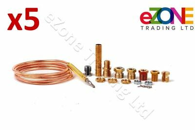 5x Universal Gas Thermocouple 900mm Complete Kit for Gas Boilers Fires Ovens