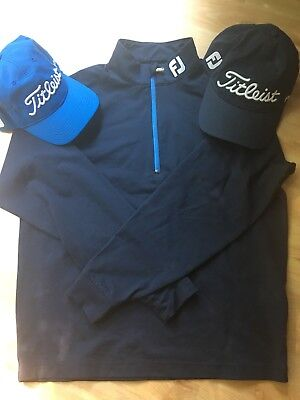 FootJoy Navy Chill Out Pullover Gr.S mit 2 x Titleist Cappie