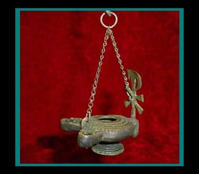 ANTIQUE BRONZE ROMAN BYZANTINE HANGING OIL LAMP with Pedestal Base with 2 Fonts