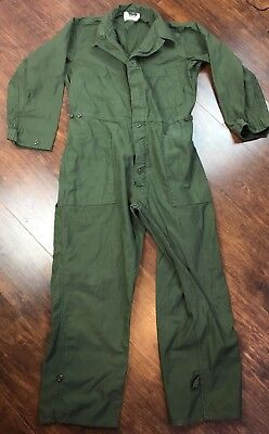 Vintage 1980 Us Army Cotton Sateen Type 1 Coveralls, Mens, Green, Large