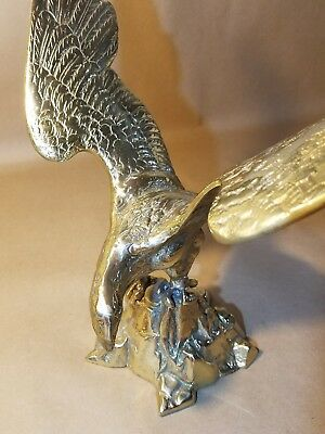 """Vintage Solid Brass American Bald Eagle Statue - 12"""" height x 13"""" wingspan - 4lb"""