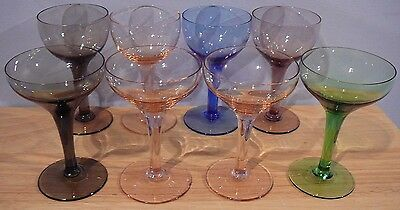 8 Vintage Multi Color Champagne Wine Glasses