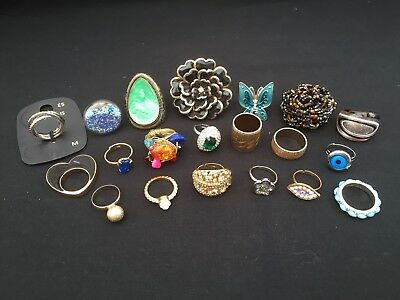 Job Lot Of Rings Vintage Style And Modern Mix Costume Jewellery Harvest Wearable
