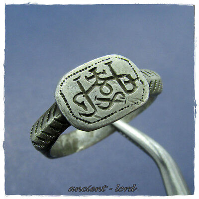 ** MONOGRAM ** excellent ancient SILVER BYZANTINE ring !!!