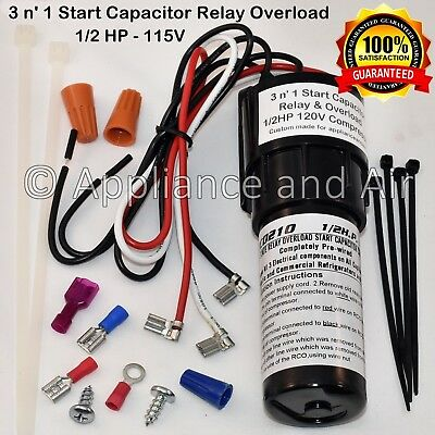 DIXIE NARCO ECC BEVMAX 1/2 HP Compressor 3 n' 1 Start Relay Capacitor Overload