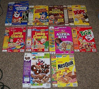 Vintage 1996-08 Lot Of 10 Sweet Cereal Boxes Trix,lucky Charms,cap'n Crunch Etc.