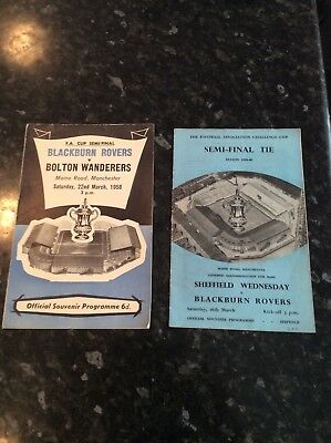 2 Items - Fa Cup Semi Finals From 1958 And 1960 Blackburn, Bolton, Sheffield Wed