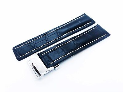 Croco Black Genuine Leather Strap Band fit BREITLING Watch Buckle Clasp 22 24mm