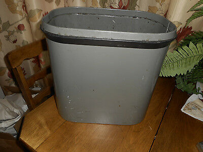 "Vintage Globe Wernicke Metal Trash Can Industrial Steampunk Gray 12-1/2"" Tall"