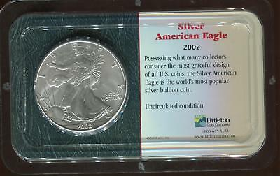 .999 1oz Silver ASE | 2002 American Silver Eagle $1 | Littleton Holder (RC9847)