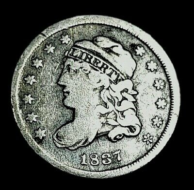 1837 Bust Half Dime 5 Cent US Silver Coin *