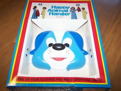 1980's Vintage Happy Animal Coat Hook Dog Puppy Blue New in Box