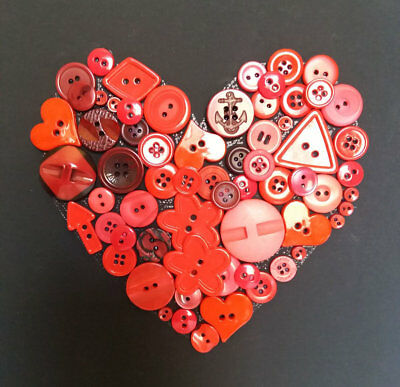 VALENTINE GIFT • Handmade Heart Collection • RED Buttons • 8x10 in BLACK CANVAS