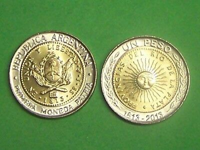 Argentina  2013  1 Peso  Uncirculated Bimetal Coin