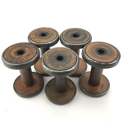 Vintage Wire Spools Wood Metal Lot Of 5 Industrial Home Decor