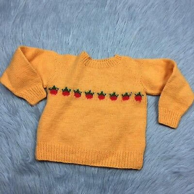 Vintage Handmade Baby Orange Red Fruit Knit Sweater