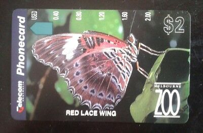 Red Lacewing Butterfly Melbourne Zoo $2 Phone card Telecom New Sealed