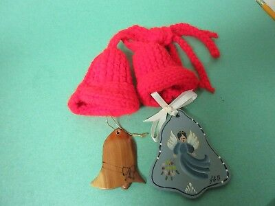 Two red knitted bells and two wooden bells Christmas ornaments