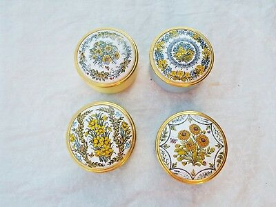 Lot of 4 Collectible Shakespeare Garden Enamel Boxes  Franklin Mint 1980 EC