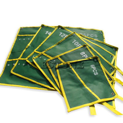 6/8/10/12/14/25 Pockets Durable Canvas Spanner Wrench Tool Roll Up Storage Bag